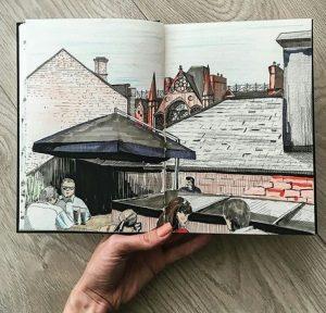 Rooftop Garden drawing Fade Street Social Restaurant Dublin
